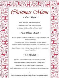 Angarrack Inn Christmas menu - available now for booked groups 10+ 14th-24th smaller groups